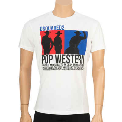 Dsquared2 T-Shirt »Pop Western« Weiß mit mehrfarbigem Print