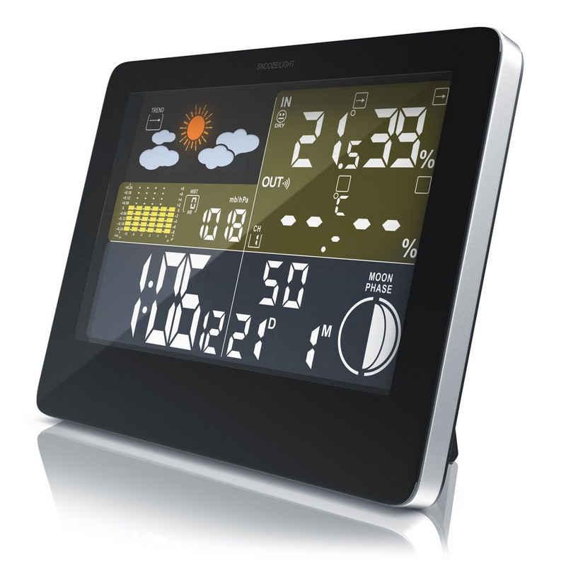 BEARWARE Wetterstation (Außensensor; 3,5mm Hohlstecker-Netzteil, Funkwetterstation mit LCD Farbdisplay inkl. Außensensor & Wettervorhersage-Piktogramm)