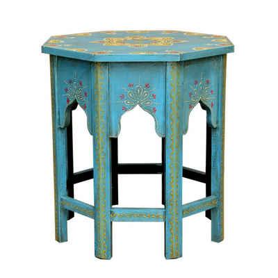 Casa Moro Beistelltisch »Orientalischer Beistelltisch Saada Blau M Höhe 37cm x Ø 29cm aus Holz handbemalt, Shabby Chic, Vintage Sofatisch kleiner Couchtisch Boho Chic, MA32-47-C-M«, Handmade, Kunsthandwerk aus dem Orient