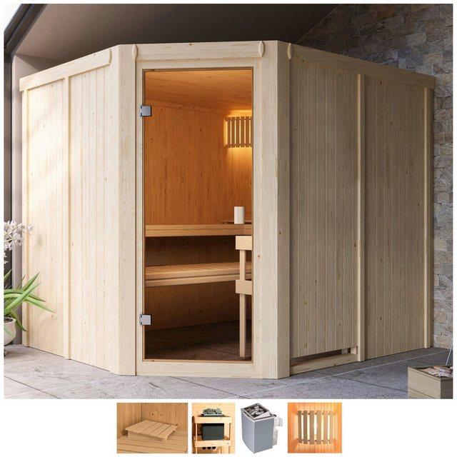 Saunen und Zubehör - Karibu Sauna »Henrika«, BxTxH 231 x 196 x 198 cm, 68 mm, 9 kW Ofen mit int. Steuerung  - Onlineshop OTTO