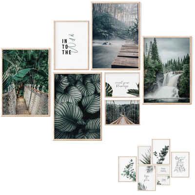 myDreamwork Poster »7 Kunstdrucke, Poster Set Grün, Bilder Schlafzimmer, Poster Wohnzimmer, Deko Flur«, Natur, Ohne Rahmen
