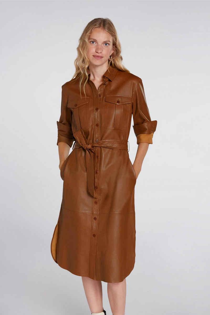 Oui Blusenkleid »Hemdblusenkleid aus echtem Leder«