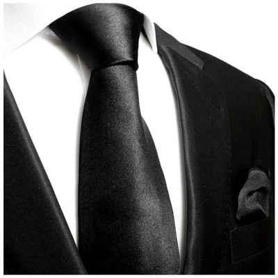 Paul Malone Krawatte »Herren Seidenkrawatte Schlips mit Tuch modern uni satin 100% Seide« (Set, 2-St., Krawatte mit Einstecktuch) Breit (8cm), schwarz 952