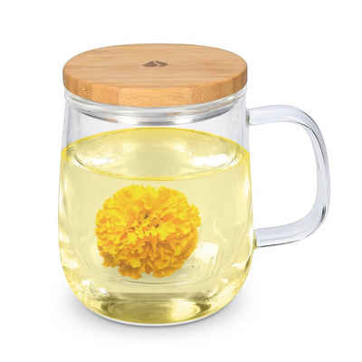 Navaris Teeglas, Borosilikatglas, mit Sieb und Bambusdeckel - Teetasse Glas für 500ml Tee - für losen Tee oder Teebeutel - Tasse aus Borosilikatglas mit Deckel