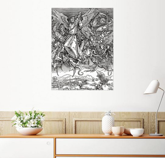 Posterlounge Wandbild, Premium-Poster Michaels Kampf mit dem Drachen