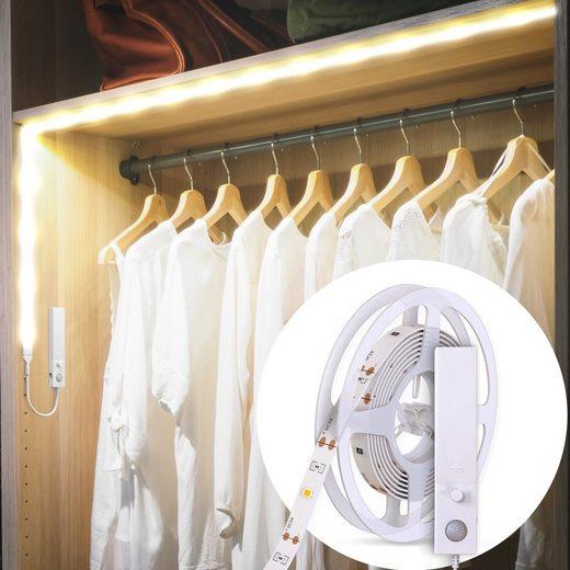 B.K.Licht LED-Streifen, 30-flammig, 1m LED Band/Stripe Schrank-Beleuchtung mit Bewegungsmelder