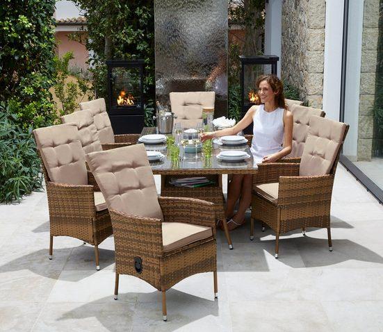 KONIFERA Gartenmöbelset »Santiago Deluxe«, 17-tlg., 8 Sessel, Tisch 200x100 cm, Polyrattan