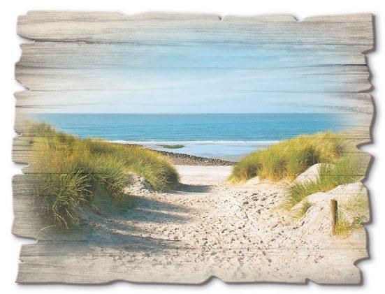 Artland Holzbild »Strand mit Sanddünen und Weg zur See«, Strand (1 Stück)