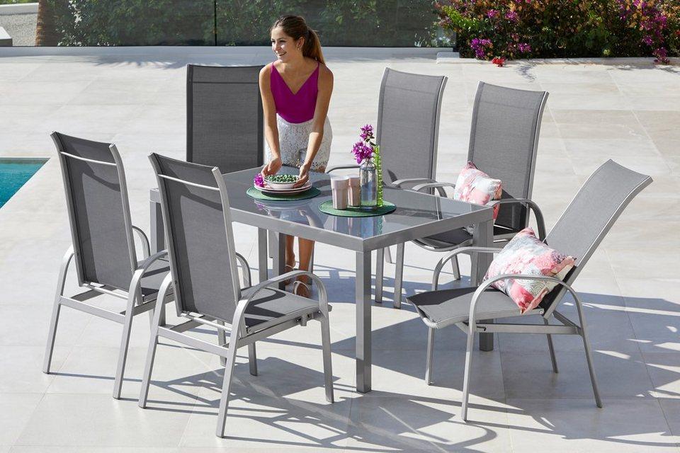 Merxx Gartenmobelset Marini 7 Tlg 6 Stuhle Tisch 150x90 Alu