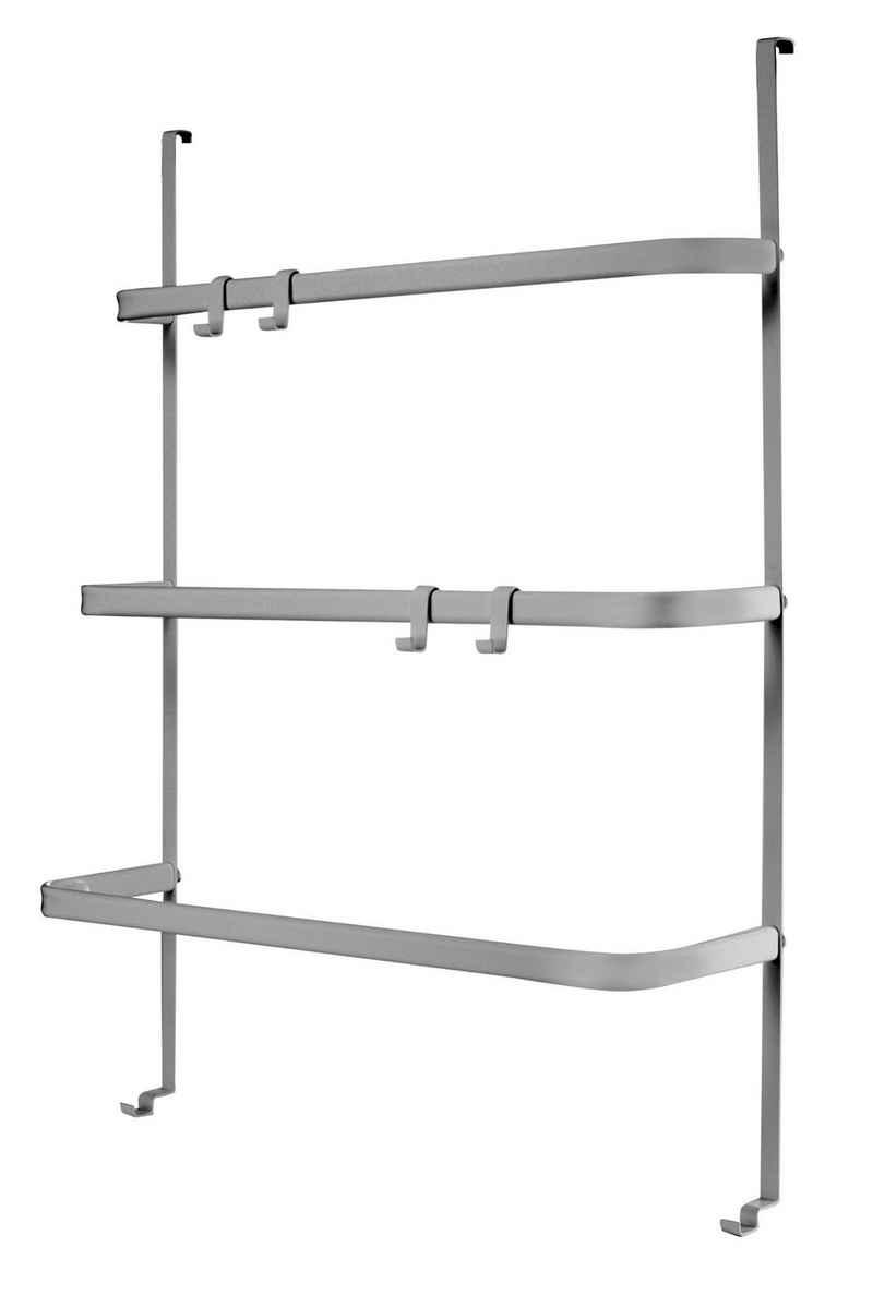 IC HomeDeco Türregal »Tür-Handtuchhalter aus Metall mit 3 Handtuchstangen und 4 Haken«, Tür-Aufbewahrung, aus Metall, mit Aufhängehaken, universell passend für alle handelsüblichen Türen, 2-Wege Aufhängung, kein Bohren, Farbe: grau