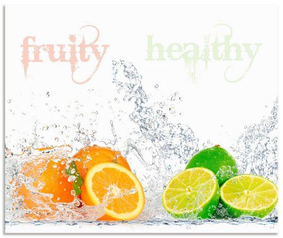 Artland Küchenrückwand »Fruchtig erfrischend gesund Fruchtmix«, (1-tlg), mit Schrift