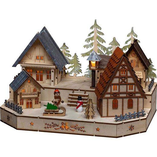 KONSTSMIDE Weihnachtshaus »LED Holzsilhouette mit Schneemann«