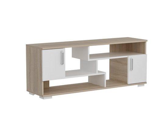 moebel17 TV-Regal »Tv Lowboard Leroy Sonoma Weiß«, mit 4 Fächern