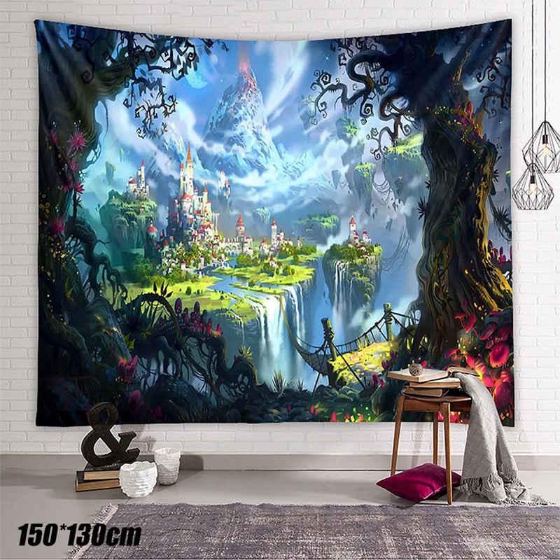 Wandteppich, Masbekte, 150*130cm, aus Weiches Mikrofaser Stoff,das Wohn und Schlafzimmer, rechteckig, Märchen Schloss Wandteppich