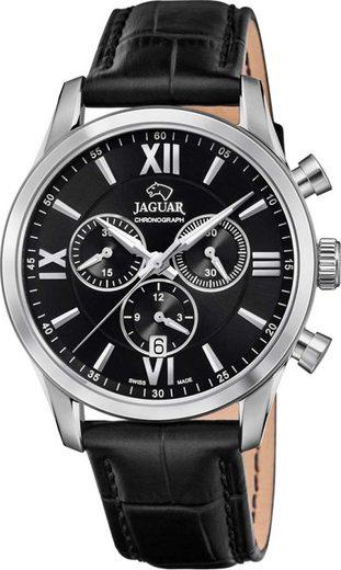 Jaguar Chronograph »UJ884/4 Jaguar Herren Armbanduhr ACM«, (Analoguhr), Herrenuhr rund, groß (ca. 41mm), Edelstahl, Lederarmband, Sport-Style