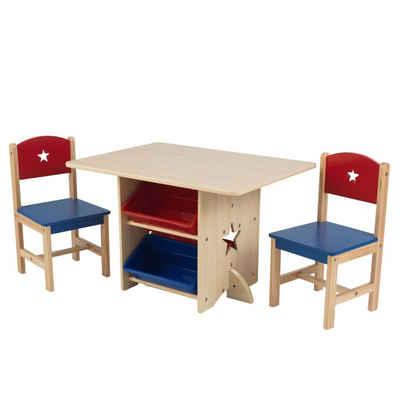 KidKraft® Kinder-Gartenset »KidKraft Sterntisch 2 Stühle Kindertisch Kindermöbel Sitzgruppe Braun/Weiß«
