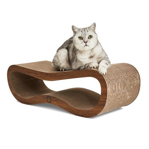 Canadian Cat Company Kratzpappe »Orbit 2.0 - walnuß«, (Qualitäts-Kratzbrett, XL Kratzmöbel mit Katzenminze), ergonomische Form