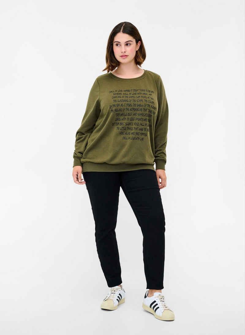 Zizzi Sweatshirt Große Größen Damen Langarm Sweatshirt mit Aufdruck und Rundhals