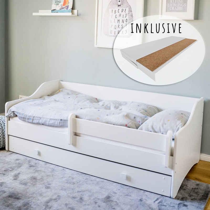 Kids Collective Kinderbett »Jugendbett 80x160 cm mit Matratze, Schublade & Rausfallschutz«, mit Matratze, punktelastisch und mit Kokos-Naturfaser