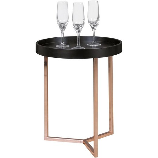 FINEBUY Tabletttisch »SuVa10593_1«, Design Beistelltisch GIVE mit Tablett abnehmbar 40 cm Rund Kupfer Couchtisch Holz Wohnzimmertisch als Tabletttisch Modern