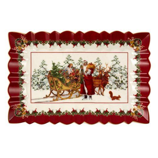 Villeroy & Boch Tafelservice »Toy's Fantasy eckige Kuchenplatte Santa mit Schlitten« (1-tlg), Premium Porzellan