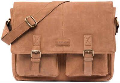 LEABAGS Umhängetasche »Cambridge«, Umhängetasche Schultertasche Laptoptasche 15 Zoll aus Echtleder, (LxBxH) ca. 38 x 10 x 31 cm - Braun