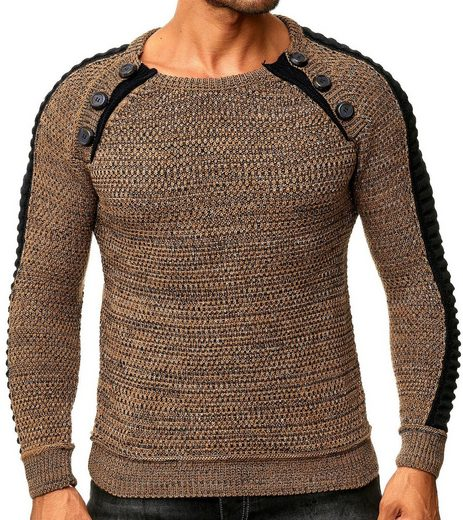 Rusty Neal Strickpullover »RUSTY NEAL Sweater zeitloses Sweatshirt Herren Strick-Pullover Langarm-Pulli Braun«