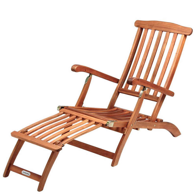 Deuba Gartenliege Liegestuhl Queen Mary Akazien Holz Garten Verstellbar Fußsegment klappbar Sonnenstuhl Deckchair Liege