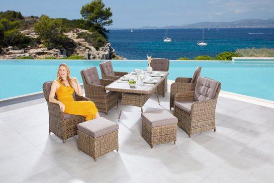 MERXX Gartenmöbelset »Seattle«, (9-tlg), 6 Sessel, 2 Hocker mit Tisch