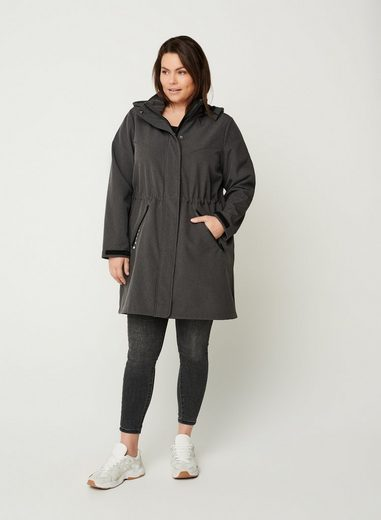 Zizzi Softshelljacke Große Größen Damen Soft Shell Kapuzen Jacke mit Knöpfen und Reißverschluss