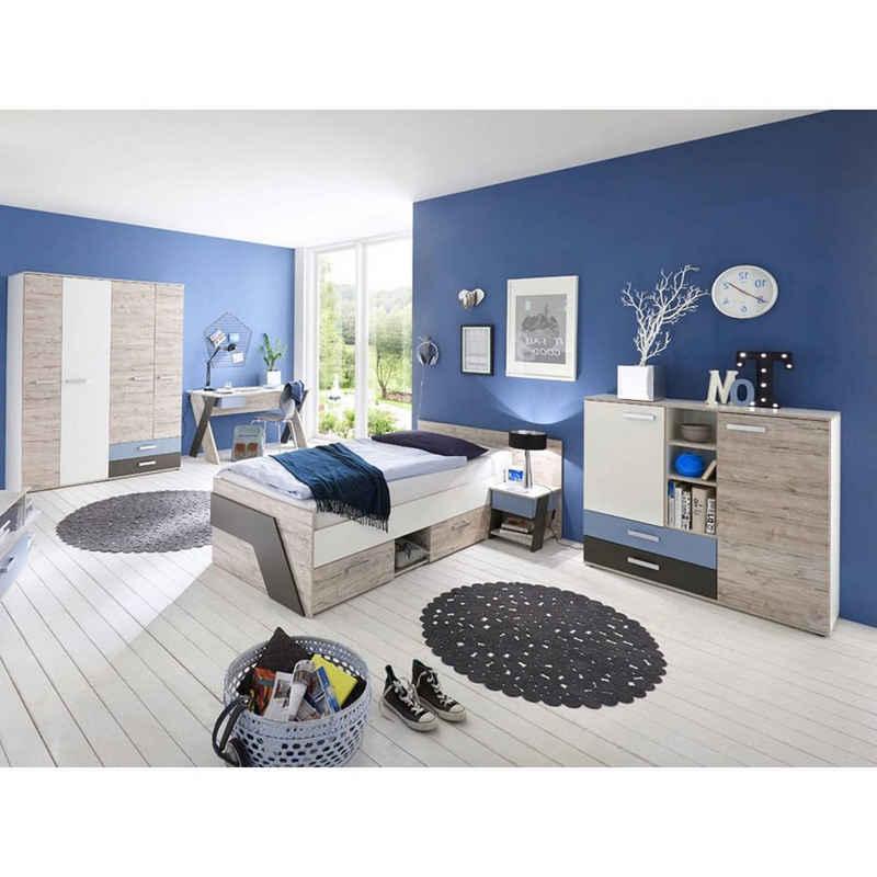 Lomadox Jugendzimmer-Set »LEEDS-10«, (Sparset, 5-tlg), mit Schreibtisch 5-teilig in Sandeiche Nb. mit weiß, Lava und Denim Blau