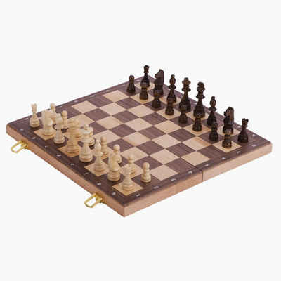 goki Spiel, Schach »Schachspiel delux in Holzklappkassette«, Box dient als Spielfeld.