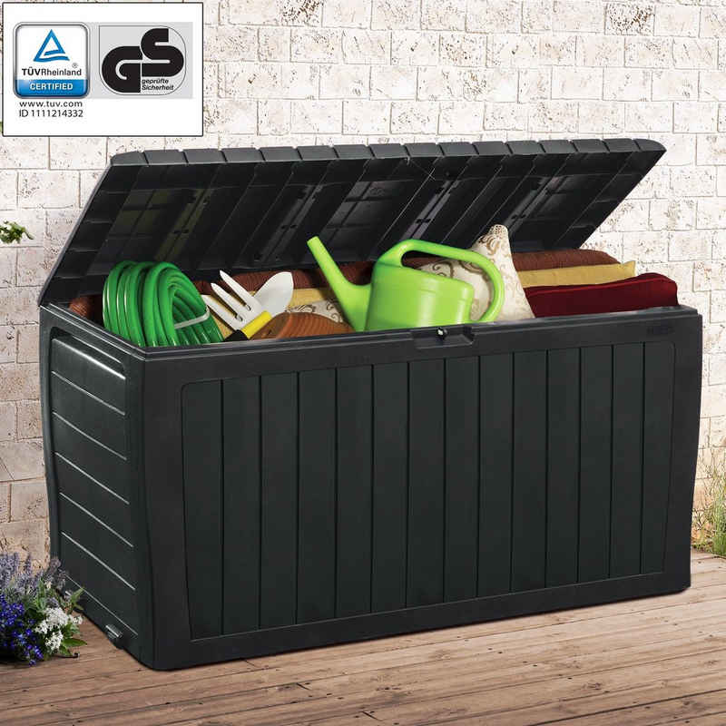 Deuba Auflagenbox, Marvel Plus 220kg belastbar UV-beständig Wetterbeständig Rollen Griffe Smart Click System Gartenbox Kissenbox Garten Truhe