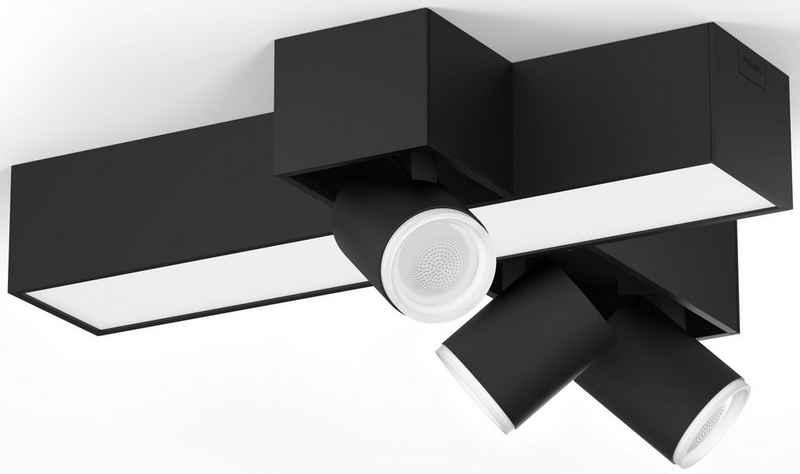Philips Hue LED Deckenspot »Philips Hue White & Col. Amb. Centris Cross Spot 3 flg. schwarz 2850lm«, Funktionelle Beleuchtung für den ganzen Tag, Für jeden Moment die passende Stimmung, Individuelle Lampeneinstellungen mit der Hue App, Einfache Montage, Jede Lampe einzeln anpassbar