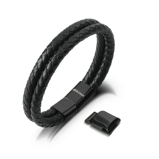 SERASAR Lederarmband »Herrenarmband Leder Two Stripes« (1-tlg), aus Echtleder, Länge durch extra Glied verstellbar