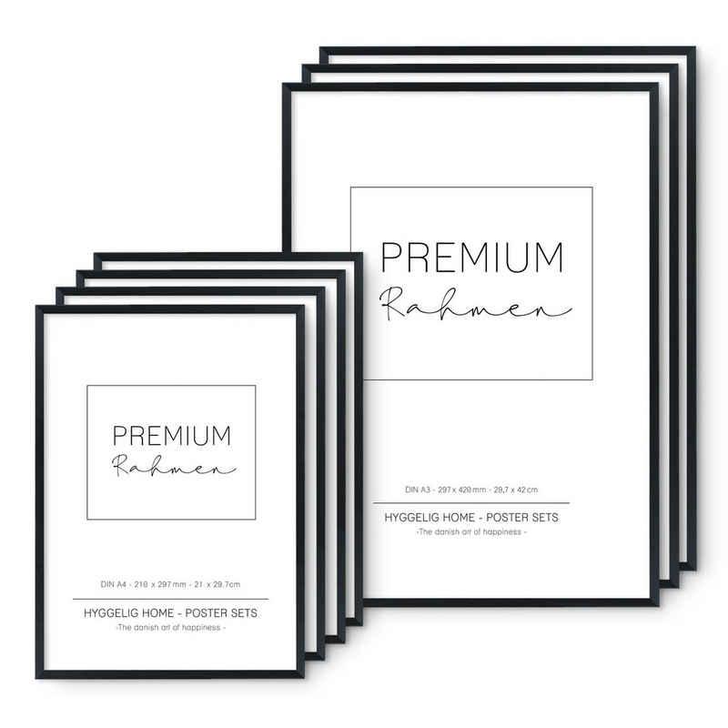 Hyggelig Home Bilderrahmen-Set »Hyggelig Home Premium Rahmen Set – 7 hochwertige Bilderrahmen aus echtem Holz im Set – 3 x DIN A3 + 4 x DIN A4 - perfekt passend für das 7er Poster Set – in schwarz«