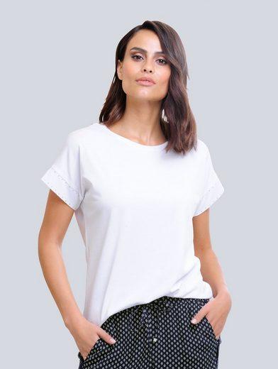 Alba Moda Shirt mit edlen Strass-Steinchen besetzt