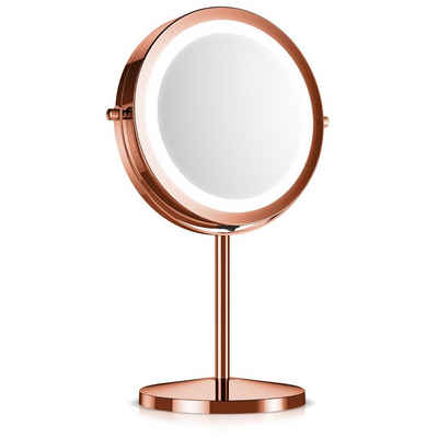 Navaris LED-Lichtspiegel, Kosmetikspiegel mit LED Beleuchtung - Spiegel mit 5fach Vergrößerung Make Up Standspiegel - Schminkspiegel beleuchtet 360° drehbar