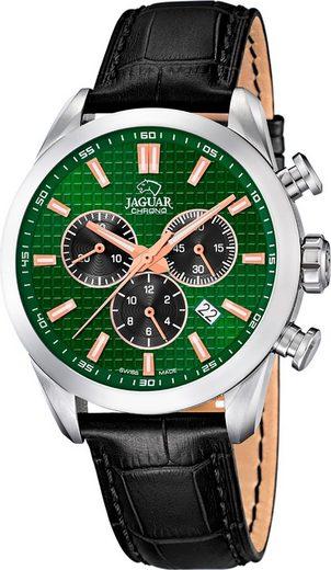 Jaguar Chronograph »UJ866/3 Jaguar Herren Armbanduhr ACM«, (Chronograph), Herrenuhr rund, groß (ca. 43mm), Edelstahl, Lederarmband, Sport-Style
