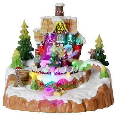 "STAR TRADING Weihnachtsdorf »LED-Weihnachtszene ""Candyville"" - Lebkuchenhaus - 12 bunte LED - H: 18cm - bunt«, 12 bunte LED"