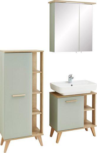 PELIPAL Badmöbel-Set »Salvie«, (3-tlg), aus Waschbeckenunterschrank, Midischrank und Spiegelschrank ink. LED-Beleuchtung, Holzgriff, Türdämpfer