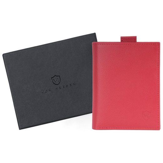 VON HEESEN Mini Geldbörse »Slim Wallet mit 15 Kartenfächern (rot)«