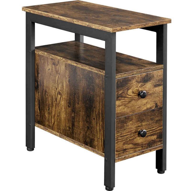 Yaheetech Nachttisch, Beistelltisch Sofatisch mit Schubladen Couchtisch im Industrie-Design für Wohnzimmer, Schlafzimmer, Vintage