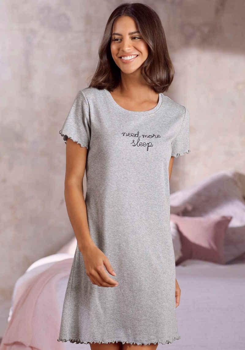 s.Oliver Nachthemd mit Stickerei und Kräuselsaum