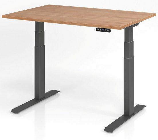 bümö Schreibtisch »OM-XDKB12«, elektrisch höhenverstellbar mit Memoryfunktion - Rechteck: 120x80 cm - Dekor: Nussbaum