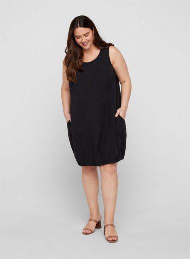 Zizzi Ballonkleid Große Größen Damen Ärmelloses Kleid aus Baumwolle mit Taschen