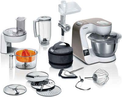 BOSCH Küchenmaschine MUM5XW40 MUM5, 1000 W, 3,9 l Schüssel, integrierte Waage, Profi-Patisserie-Set, Durchlaufschnitzler, 4 Reibescheiben, Fleischwolf, Zitruspresse, weiß/champagner