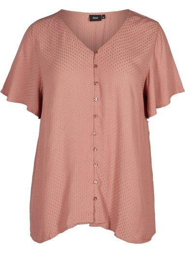 Zizzi Kurzarmbluse Große Größen Damen Bluse mit Knopfverschluss und V-Ausschnitt