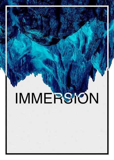 Komar Poster »Immersion Blue«, Abstrakt, Sprüche & Texte, Höhe: 40cm