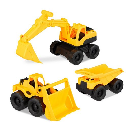 relaxdays Spielzeug-Bagger »Spielzeug Baustellenfahrzeuge 3er Set«